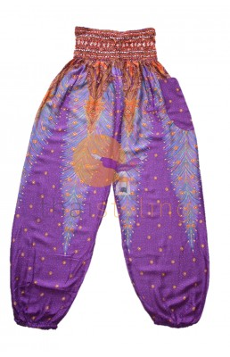 Purple peacock yoga pants