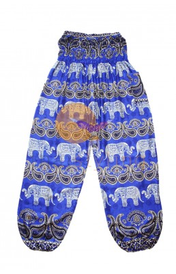 Blue cheerful elephant yoga pants