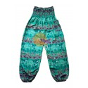 Green cheerful elephant yoga pants