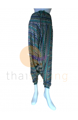 Green stripes aladdin style yoga pants
