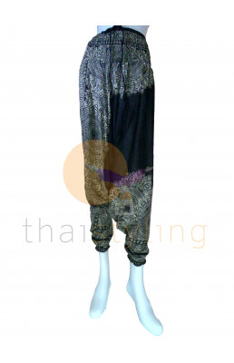 Black flowers aladdin style yoga pants