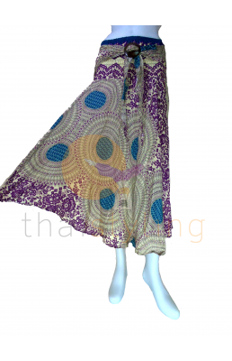 Purple Cream Flower behemian skirt