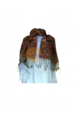 Brown and Orange Flowers scarf
